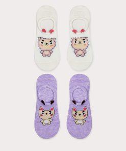skarpetki damskie stopki z uszkami białe fioletowe