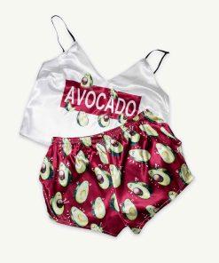 piżama avocado wisniowa
