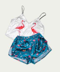 piżama we flamingi morska