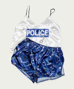 piżama police szafirowa satynowa