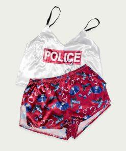 piżama police wiśniowa