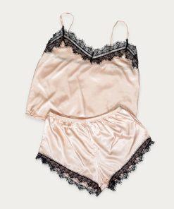 satynowa piżama z koronką piaskowa