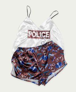 piżama police kasztanowa